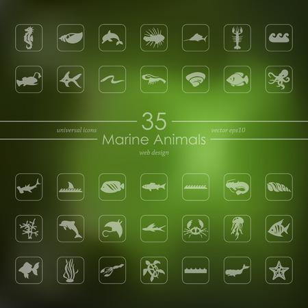 Conjunto de iconos de animales marinos Foto de archivo - 85998589