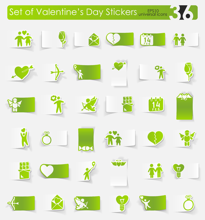 Set of Valentines Day stickers