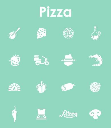 ピザの簡単なアイコンのセット
