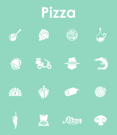 Set of pizza simple icons Çizim