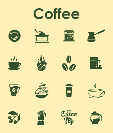 Set of coffee simple icons