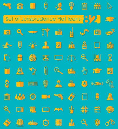 Set of jurisprudence icons Illustration