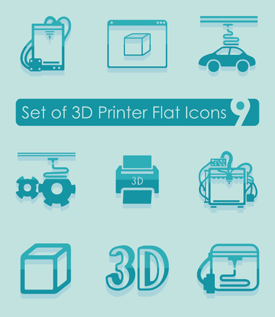 Set of three d printer icons