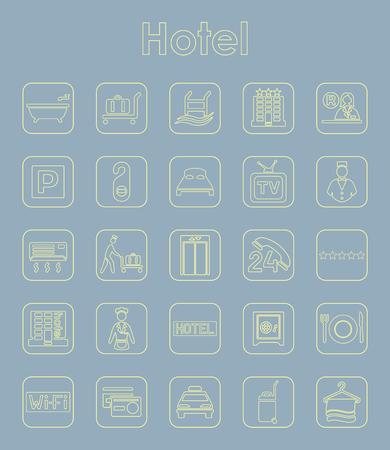 Ensemble d'icônes simples de l'hôtel