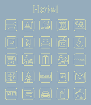 Set of hotel simple icons Stock Vector - 85998637