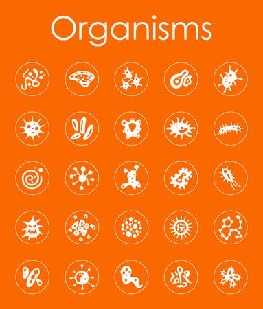 Set of organisms simple icons 向量圖像