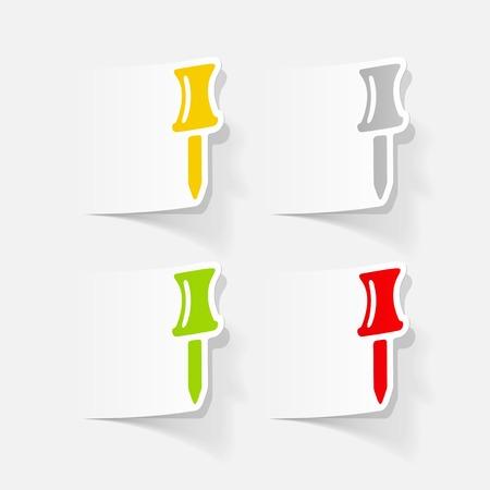 realistic design element: push pin 向量圖像