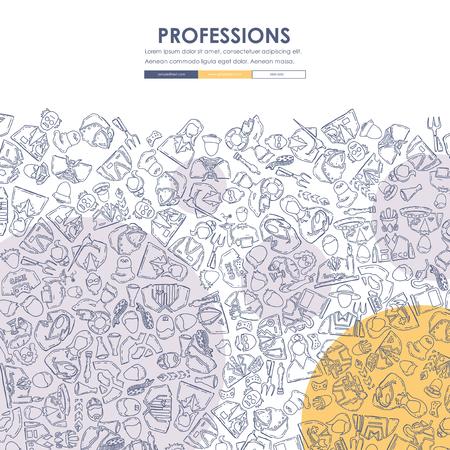 직업 낙서 웹 사이트 템플릿 디자인 일러스트