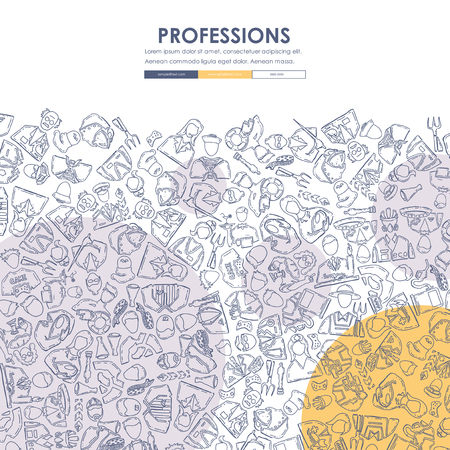 professions Doodle Website Template Design Ilustrace