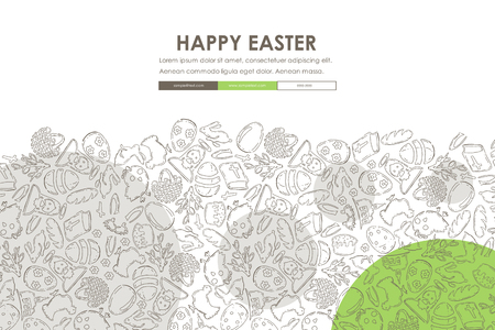 easter Doodle Website Template Design Illustration
