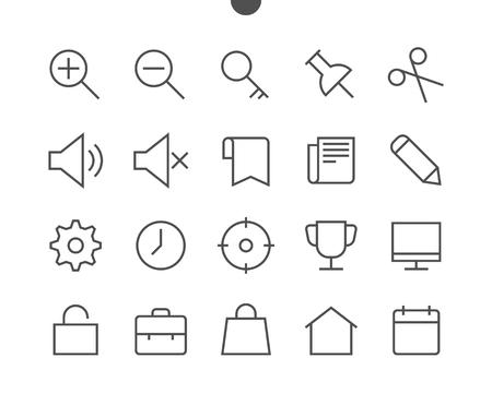 Allgemeine Benutzeroberfläche Pixel Perfekt Gut ausgearbeitete Vektor-Icons mit dünnen Linien (48 x 48), 24 x 24-Raster für Webgrafiken und Apps mit bearbeitbarem Strich. Einfaches minimales Piktogramm