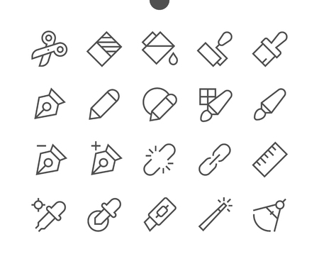 Graphic Design Pixel Perfect Well-crafted Vector Thin Line Icons 48x48 Ready for 24x24 Grid for Web Graphics and Apps with Editable Stroke. Simple Minimal Pictogram