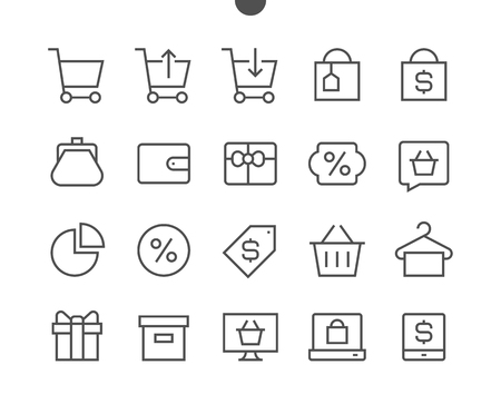 Shopping Pixel Perfect Well-crafted Vector Thin Line Icons 48x48 Ready for 24x24 Grid for Web Graphics and Apps with Editable Stroke. Simple Minimal Pictogram Reklamní fotografie - 86156499