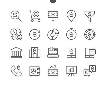 Pixel perfect perfect perfect vector línea iconos de vector universal lista para conectar cuadrícula para web web y aplicaciones con el informe simple esquema lineal minimalista Foto de archivo - 86156500