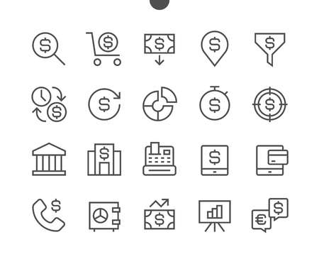 Financial Pixel Perfect Well-crafted Vector Thin Line Icons 48x48 Ready for 24x24 Grid for Web Graphics and Apps with Editable Stroke. Simple Minimal Pictogram