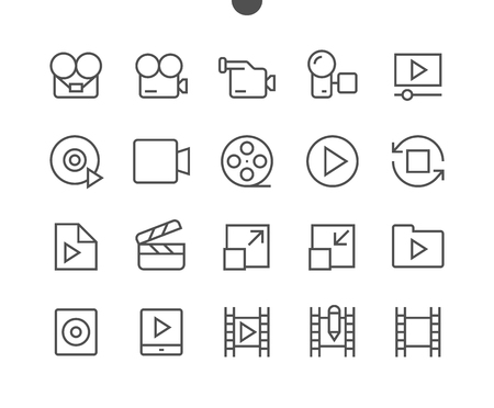 Audio Video Pixel Perfect Well-crafted Vector Thin Line Icons 48x48 Ready for 24x24 Grid for Web Graphics and Apps with Editable Stroke. Simple Minimal Pictogram Stock Illustratie
