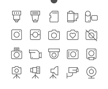 カメラ UI ピクセル完璧なよく練られたベクトル細い線アイコン 48 x 48 24 x 24 グリッドの Web グラフィックや編集可能なストロークでアプリの準備しま