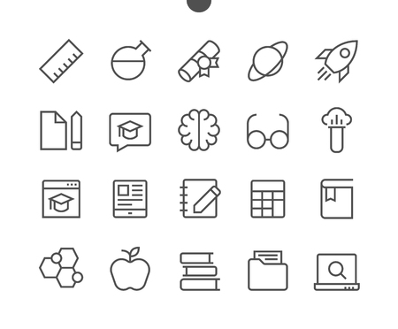Education UI Pixel Perfect Well-crafted Vector Thin Line Icons 48x48 Ready for 24x24 Grid for Web Graphics and Apps with Editable Stroke. Simple Minimal Pictogram