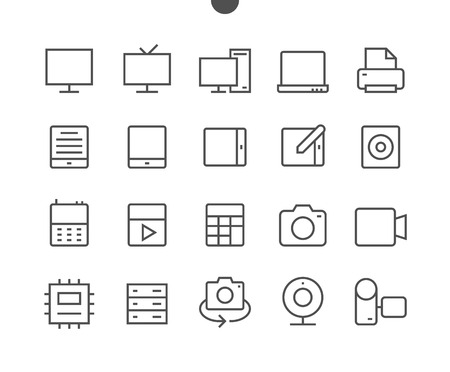 Devices UI Pixel Perfect Well-crafted Vector Thin Line Icons 48x48 Ready for 24x24 Grid for Web Graphics and Apps with Editable Stroke. Simple Minimal Pictogram Çizim