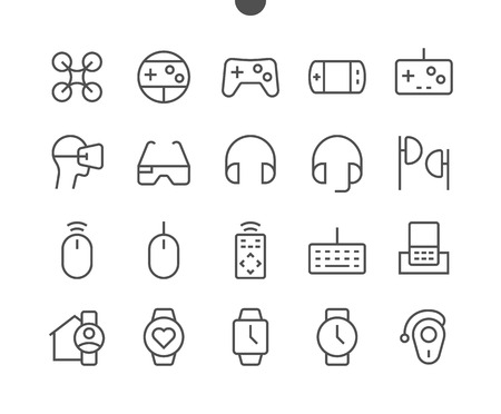 Devices UI Pixel Perfect Well-crafted Vector Thin Line Icons 48x48 Ready for 24x24 Grid for Web Graphics and Apps with Editable Stroke. Simple Minimal Pictogram 일러스트