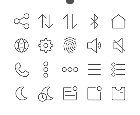 Settings UI Pixel Perfect Well-crafted Vector Thin Line Icons 48x48 Ready for 24x24 Grid for Web Graphics and Apps with Editable Stroke. Simple Minimal Pictogram Illustration