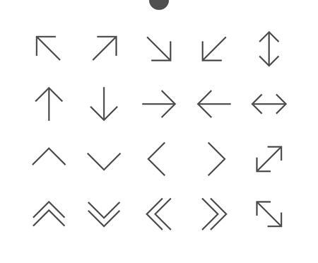 화살표 UI 픽셀 완벽하게 잘 만들어진 벡터 씬 라인 아이콘 48x48 편집 가능한 스트로크가있는 웹 그래픽 및 응용 프로그램 용 24x24 격자 준비. 간단한 최