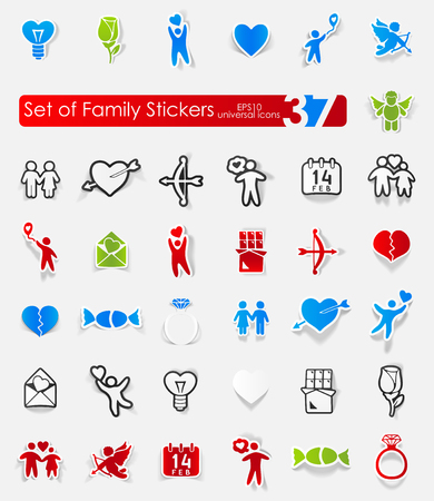 happy family: Set of family stickers