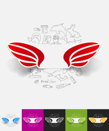wing paper sticker with hand drawn elements