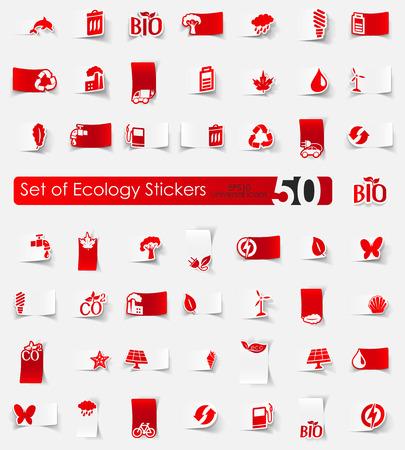 Set of ecology stickers Illustration