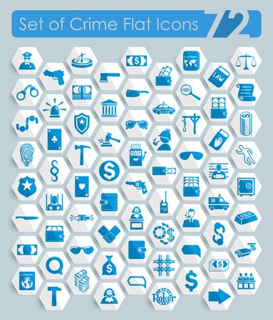 Ensemble d'icônes de crime Banque d'images - 87381273
