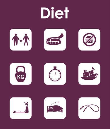 healing: Set of diet simple icons Illustration