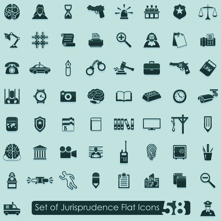 Set of jurisprudence icons Иллюстрация
