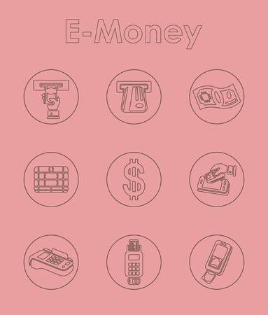電子マネーのシンプルなアイコンのセット  イラスト・ベクター素材