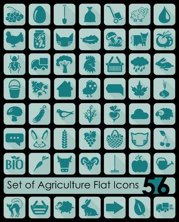 grain fields: Set of agriculture icons Illustration