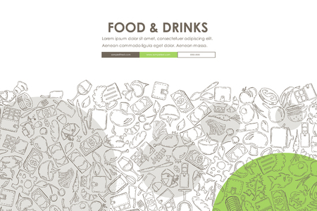 seo: restaurant Doodle Website Template Design Illustration