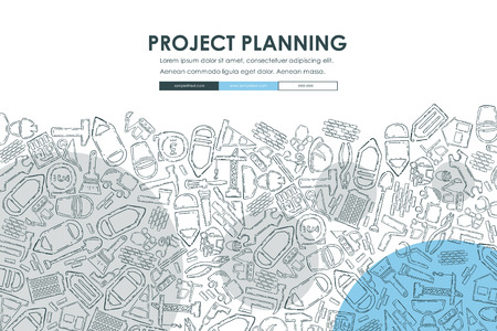 residential: construction Doodle Website Template Design Illustration