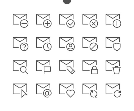 Email UI Pixel Perfect Well-crafted Vector Thin Line Icons 48x48 Ready for 24x24 Grid for Web Graphics and Apps with Editable Stroke. Simple Minimal Pictogram Part 1-5