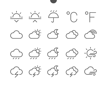 Weather UI Pixel Perfect Well-crafted Vector Thin Line Icons 48x48 Ready for 24x24 Grid for Web Graphics and Apps with Editable Stroke. Simple Minimal Pictogram