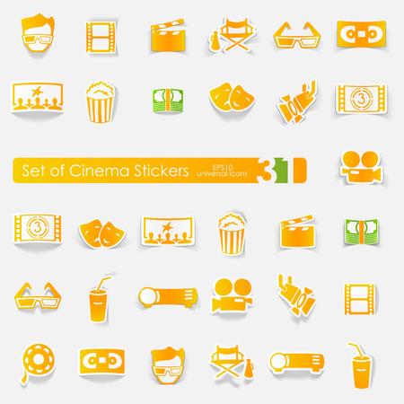 Set of cinema stickers Stock Vector - 88673095