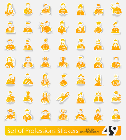 Set van beroepen stickers