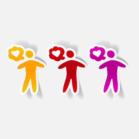 socialization: Realistic design element of a man thinking of love Illustration