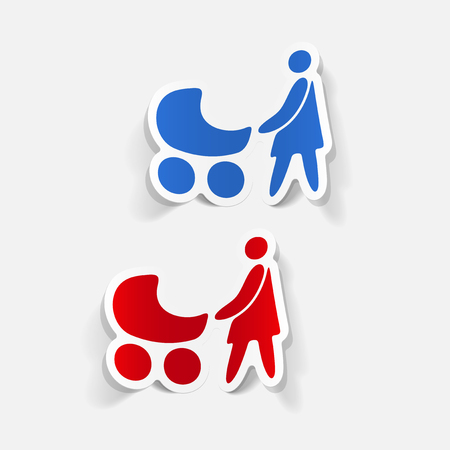Realistic design element of mom and baby Illustration