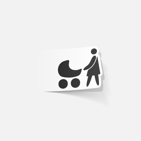 Realistic design element of mom and baby Фото со стока - 88673435