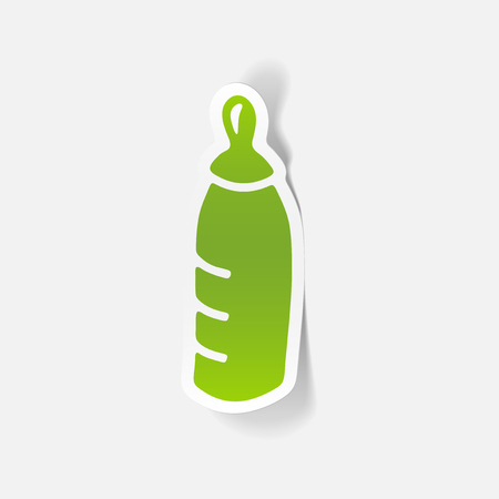 Realistic design element of baby bottle