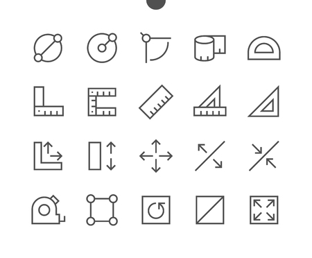 Maß-Pixel-Perfekte Gut gestaltete Vektor-Icons für dünne Linien 48x48 Bereit für 24x24-Raster für Webgrafiken und Apps mit bearbeitbaren Strichen. Einfaches minimales Piktogramm