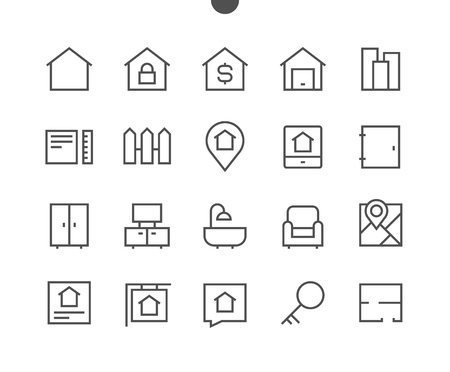 Real Estate Outlined Pixel Perfect Well-crafted Vector Thin Line Icons 48x48 Ready for 24x24 Grid for Web Graphics and Apps with Editable Stroke. Simple Minimal Pictogram Illustration