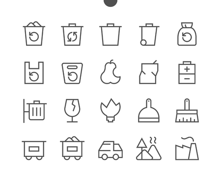 Garbage Outlined Pixel Perfect Well-crafted Vector Thin Line Icons 48x48 Ready for 24x24 Grid for Web Graphics and Apps with Editable Stroke. Simple Minimal Pictogram