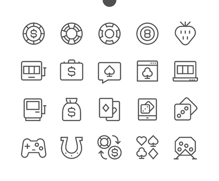 Gambling View Outlined Pixel Perfect Well-crafted Vector Thin Line Icons 48x48 Ready for 24x24 Grid for Web Graphics and Apps with Editable Stroke. Simple Minimal Pictogram Illustration