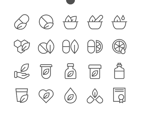 Alternative medicine UI Pixel Perfect Well-crafted Vector Thin Line Icons 48x48 Ready for 24x24 Grid for Web Graphics and Apps with Editable Stroke. Simple Minimal Pictogram Ilustracja