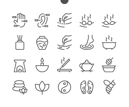 Alternative medicine UI Pixel Perfect Well-crafted Vector Thin Line Icons 48x48 Ready for 24x24 Grid for Web Graphics and Apps with Editable Stroke. Simple Minimal Pictogram Vettoriali